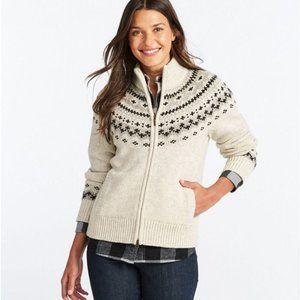 L.L.Bean Classic Sweater Fair Isle Cardigan New